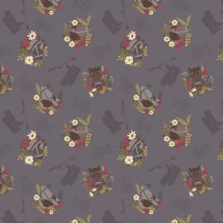 Lewis & Irene Farley Mount - 5576  - Horses on Dark Grey - A227.3 - Cotton Fabric